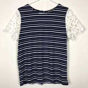 Sunday In Brooklyn Striped Lace Shirt Petite